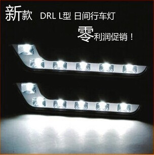 Free shipping 2pcs car styling 7 lines fonts, led lamp, lamp line L day light 12 led daytime running lights parking cars(China (Mainland))