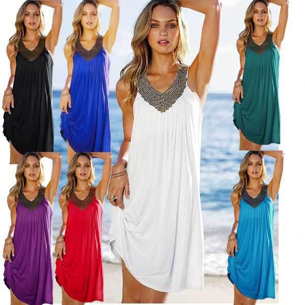 Free Shipping Fashion Newest Beach Dress Ladies Summer Dress Newest Beach Dress V-neck Beach Dress 7 Colors 4F4314(China (Mainland))