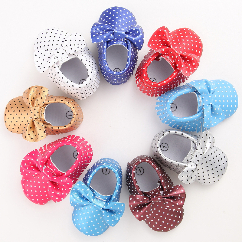 11 Colors New Fashion Polka Dot Big Bow Newborn Baby Girls First Walkers PU Leather Baby Moccasins Soft Moccs Shoes Footwear(China (Mainland))