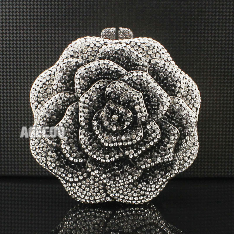 Unique Luxury Womens Black Rhinestone Crystal Rose Clutch Evening Bag Beautiful Flower Handbag Ladys Dress Party Bags - Acecoo Trading Co., Ltd. store