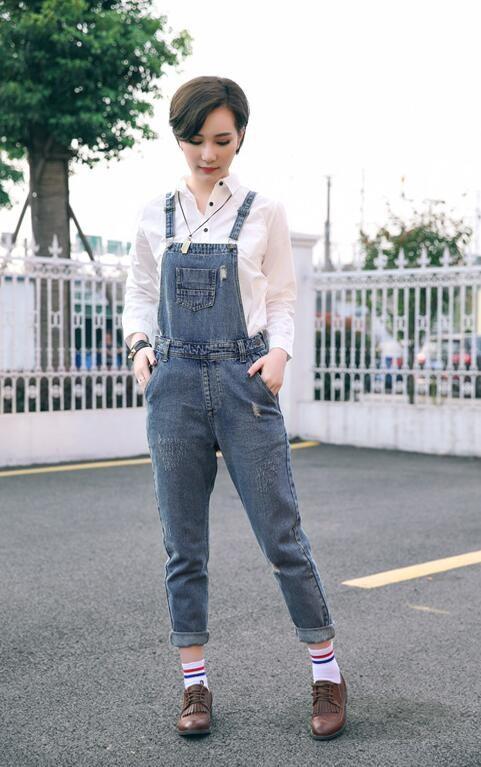 Скидки на 2016 Запад Стиль Моды Синий Цвет Чистого Хлопка Случайные Ковбой джинсовые Комбинезоны Разорвал Отбеленные Завышенной Талией женские Джинсы D14