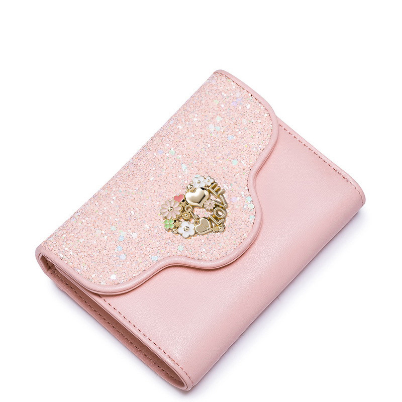 Sweet Style Fashion Pink Money Bag 2016 New Sequin Wallet Hollow Out Heart MINI Purse Designer Paillette Ornament Small Billfold(China (Mainland))