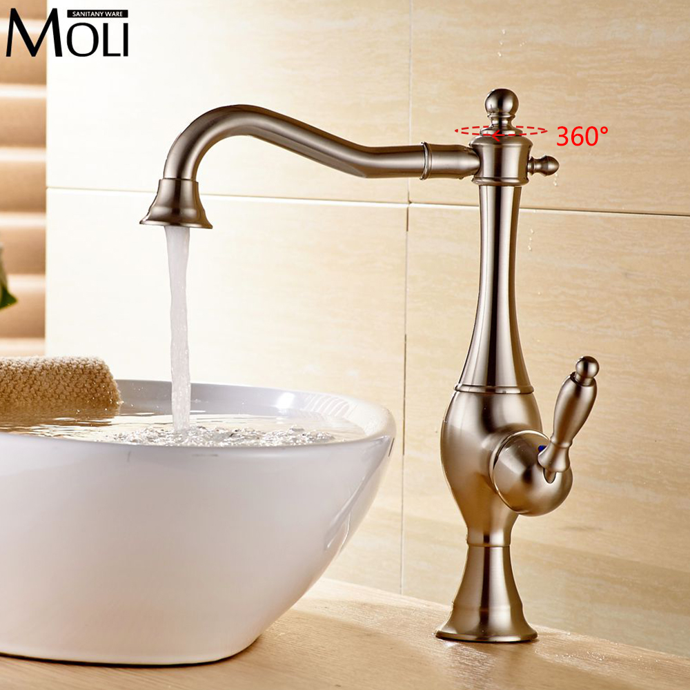 Фотография Brushed nickel vessel faucets for bathroom basin sink water tap