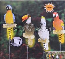 2014 New Solar Resin Parrots Figurine Garden Yard Decor Stake Light 4pieces/set(China (Mainland))