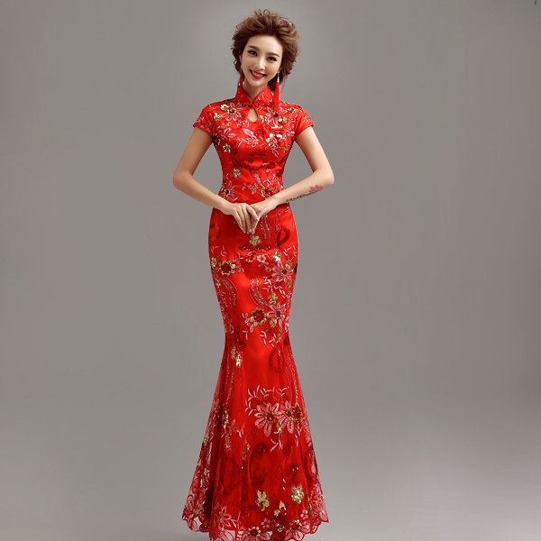 Vintage Cheongsam Qipao Long Chinese Traditional Dress Red