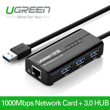 Ugreen 3 Port USB 3.0 HUB 10/100/1000 Mbps USB à RJ45 Gigabit Ethernet Filaire Carte Réseau LAN Adaptateur pour windows Mac Linux(China (Mainland))
