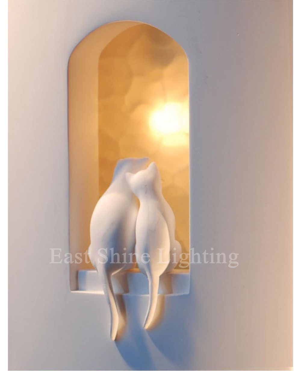 Modern Wall Lamps Two Loving Kitties Gypsum Lovely Wall Lights Bedroom Bedside Wall Sconces kitchen cabinet Lamps abajur(China (Mainland))