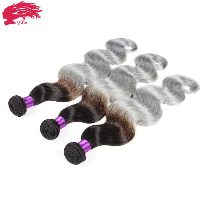 Rosa Hair Products Brazilian Virgin Hair Brazilian Body Wave Grey Hair Weave 3 Pcs/Lot Ombre Human Hair 7A Virgin Brazilian Hair<br><br>Aliexpress
