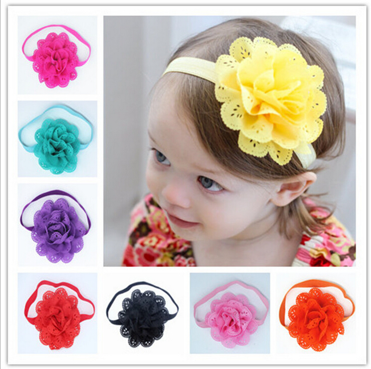 2016 Brand New HOT Hollow Elastic Hair Band Baby Headwear Fashion Headbands Girls Infant Bow Flower Hair Accessories(China (Mainland))