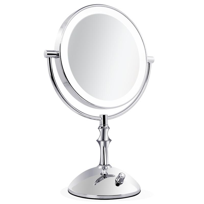 8 Inch Desktop Makeup Mirror 2-Face Metal Mirror 3X 5X 10X Magnifying Cosmetic Mirror LED Lamp Adjust The Brightness(China (Mainland))