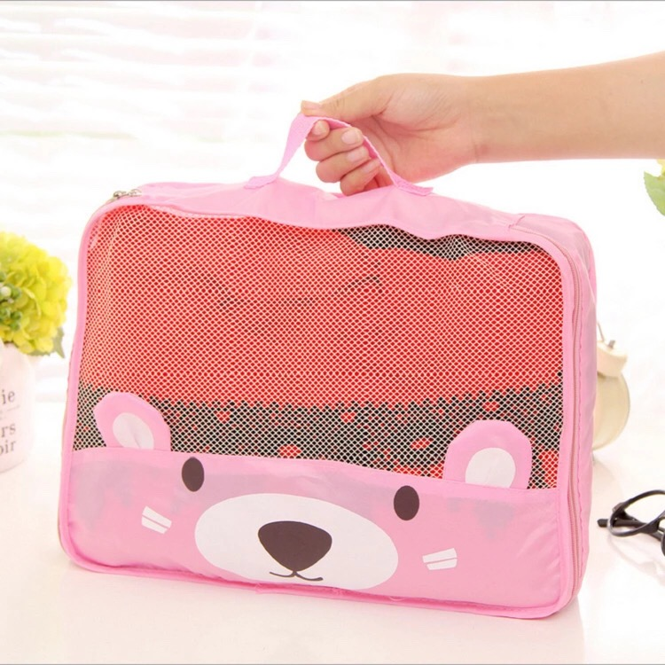 2016 New Hot Style Polyester Storage Bag Essential For Traveling With Lovely Bear Organization For Women Underwear Handiness(China (Mainland))