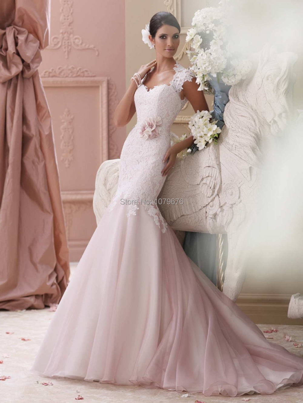 Fashion modest pink backless lace mermaid wedding dress for Plus size pink wedding dresses