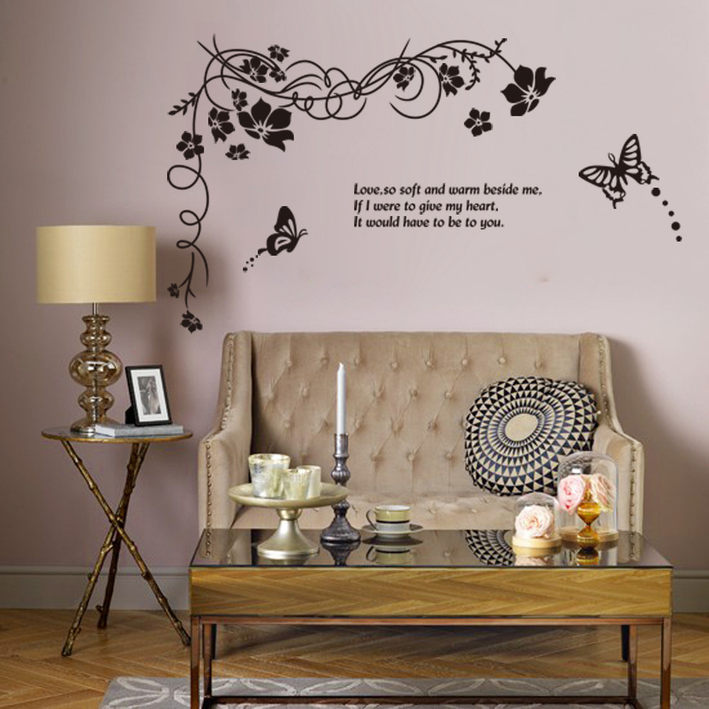 817 oversized black flower vine European and American English Proverbs LOVE butterfly wall stickers removable waterproof double-(China (Mainland))