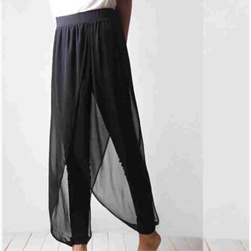 Zanzea 2014 New Fashion Women Stylish Black Chiffon Harem Pants Elegant Leisure Capris Loose Casual Ankle Length Trousers(China (Mainland))