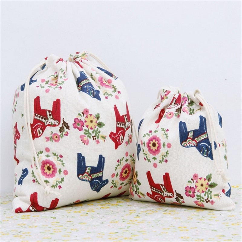 Storage Pouches Drawstring Bag Decorative Christmas Wedding Gift Toy Bags Packing Supplies Colorful Horse Pattern 2pcs/lot(China (Mainland))