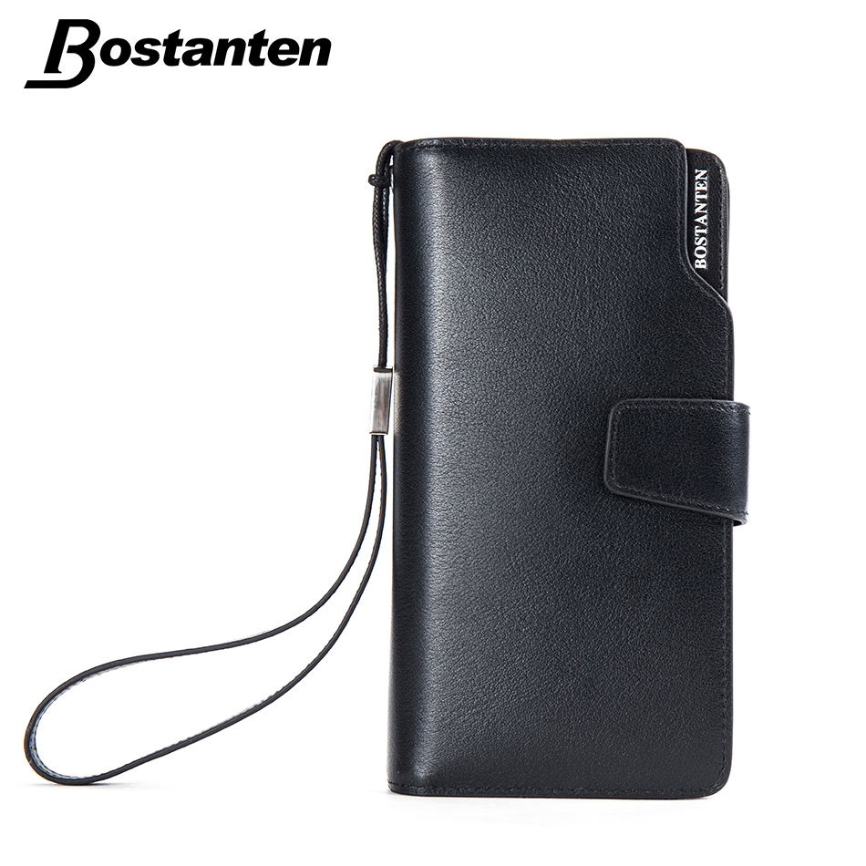 BOSTANTEN Leather Wallet Men Luxury Brand Long Strap Purse Phone Hand Bag Business Credit Card Coin Purse Large Clutch Carteras(China (Mainland))