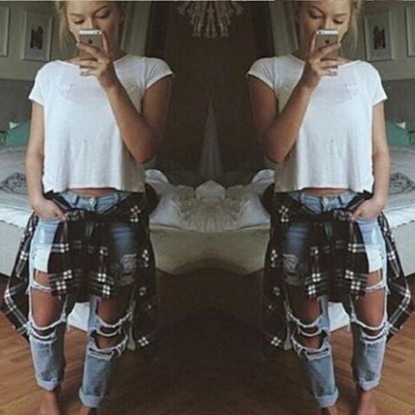 Скидки на 2016 Женская Мода Дамы Средний Талия Большая Дыра Промывали Регулярные Джинсы Повседневная Полная Длина Брюки Брюки