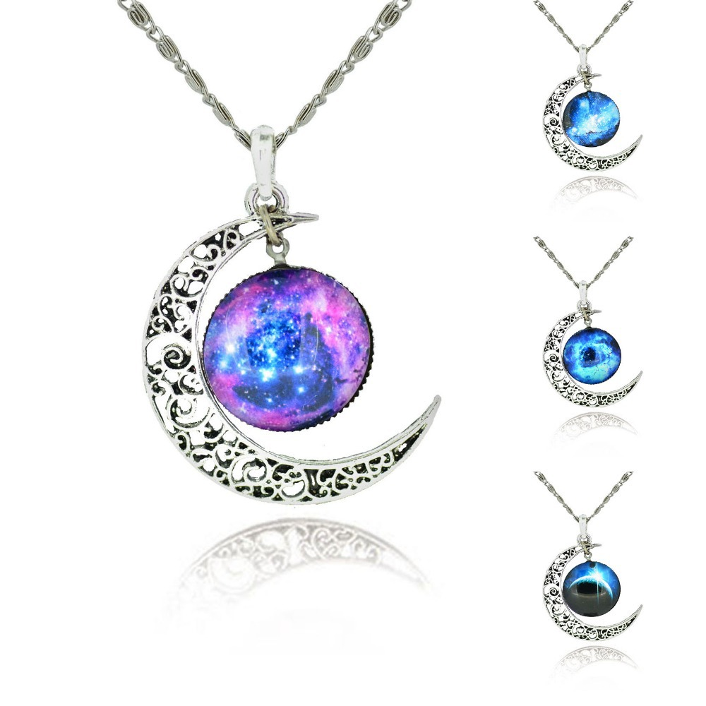 Free Shipping 2014 New Fashion Galaxy Necklace Lovely Galaxy Cabochon Alloy Hollow Moon Pendant Silver Chain Necklace Best Gift(China (Mainland))