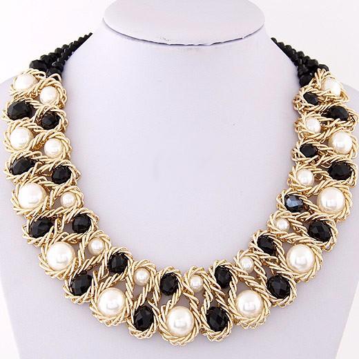 HTB1.1AbIpXXXXXjXVXXq6xXFXXXI - Statement necklace Fashion for Women 2017 Chunky Bead Gold Chain Double Crystal Big Pearl Choker Necklaces & Pendants Jewelry