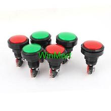 AC 250V 125V Round Arcade Video Game Player Push Button Switch Red Green 6 Pcs(China (Mainland))