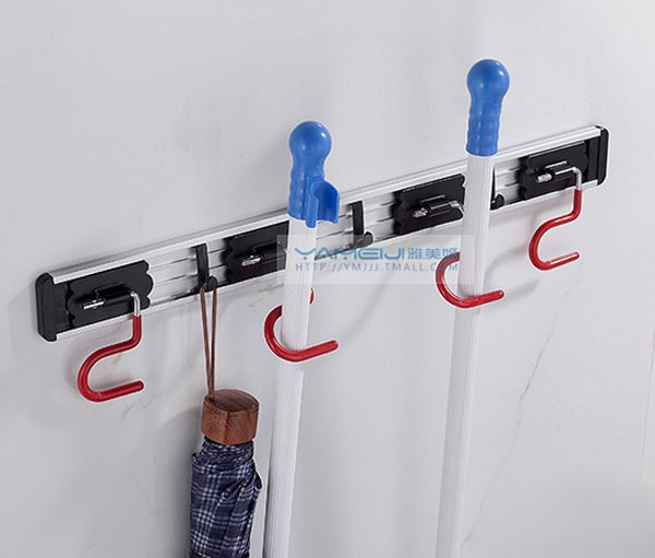 New Wall Mount Bathroom Mop & Broom Holder Home Cleaning Tools Hanger W/ Hooks(China (Mainland))