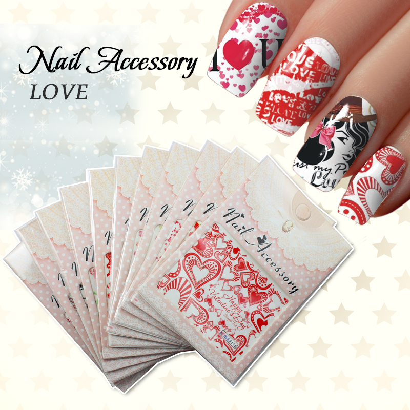 110Pcs/ Lot Latest Water Stamps Nail Art Sticker Decal Decoration Love Series Nail Tool Supplier Nail Sticker JH046(China (Mainland))