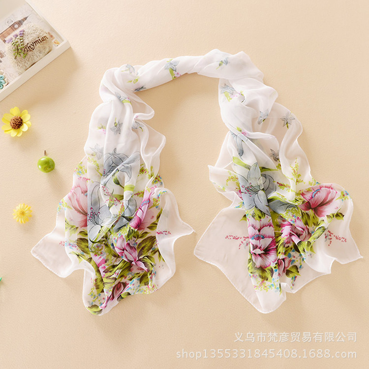 2015 New Perfect Chiffon Scarf For Women Beautiful Print Autumn Summer Silk Scarves Fashion Shawl 150cm*50cm W154(China (Mainland))