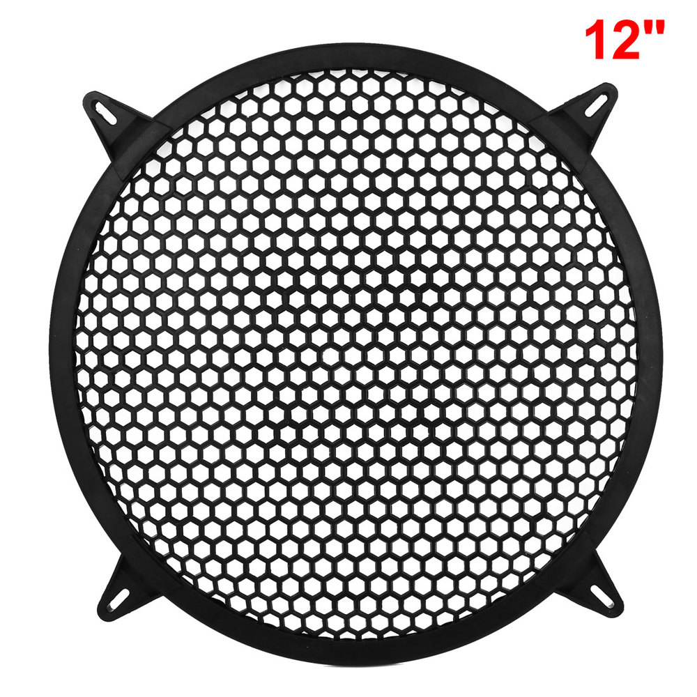 Plastic Mesh Style Round Car Woofer Cover Speaker Subwoofer Grill 12inch Dia Black(China (Mainland))