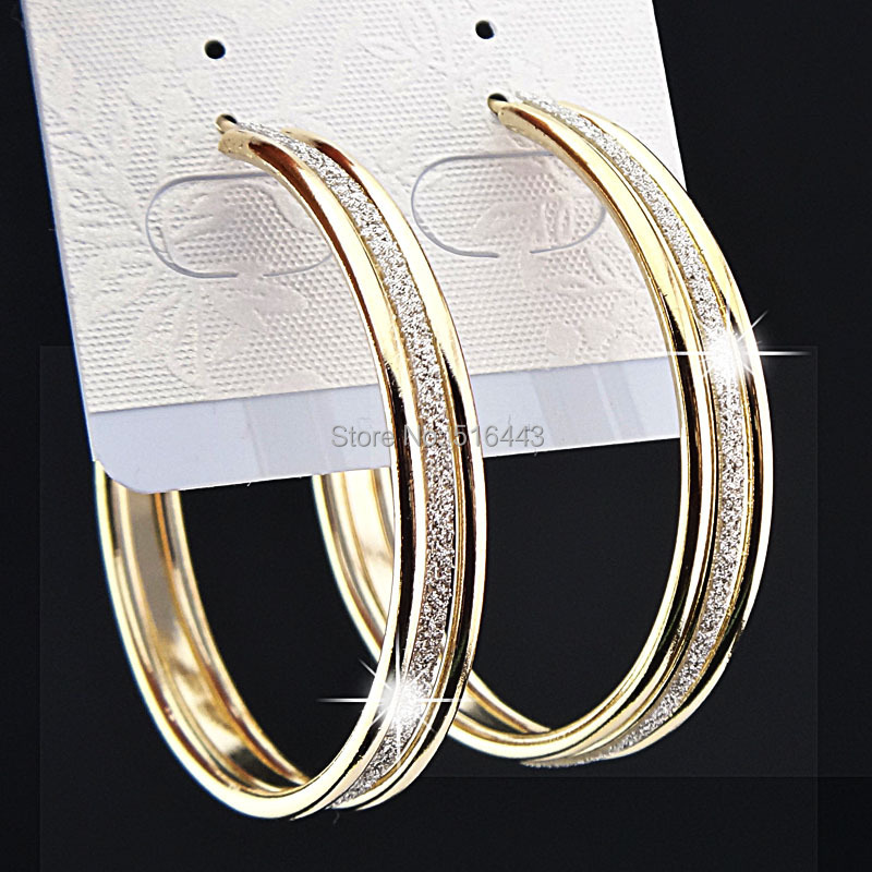 Charms Fashion Hot Sale 3 rows Gold Frosted Big Hoop Earrings for Womens Wedding Bridal Party Jewelry B1060(China (Mainland))