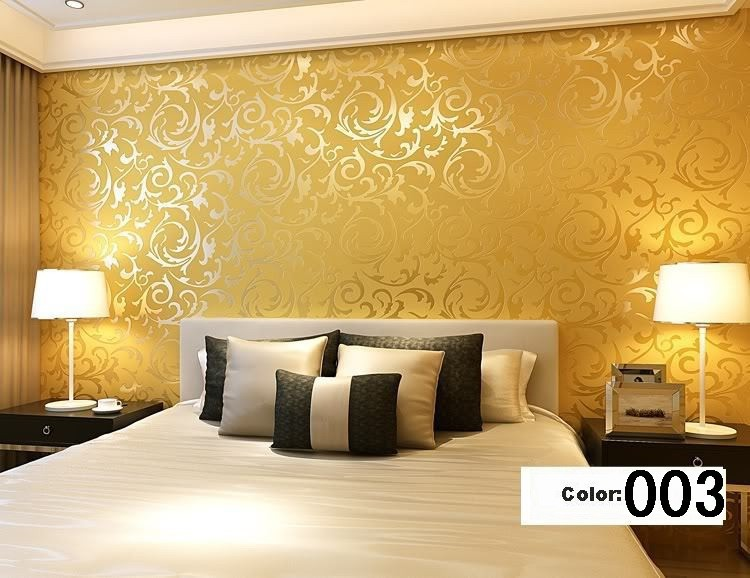 Modern 3d background vinyl wallpaper for living room gold for Gold wallpaper living room