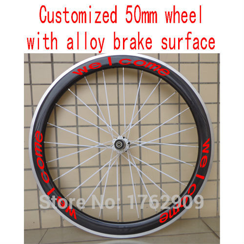 1pcs New customized 700C 50mm clincher rim Road Fixed Gear bike carbon fibre bicycle wheelset with alloy brake surface Free ship(China (Mainland))