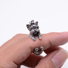 Free Shipping Vintage West Highland Yorky Terrier Rings Streched Animal Yorkshire Puppy Dog Rings for Women(China (Mainland))