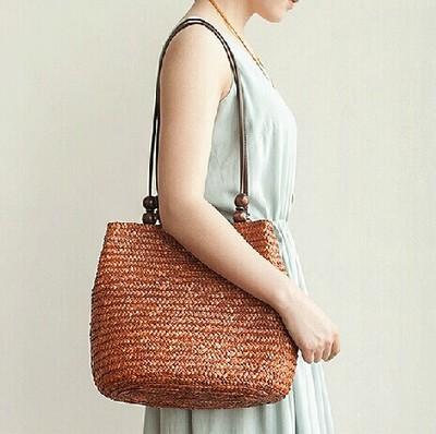 2016 New Vintage Women Handbag Summer Shoulder Bag Vintage Casual Bucket Straw Tote Bag Beach Bag 3 Color(China (Mainland))