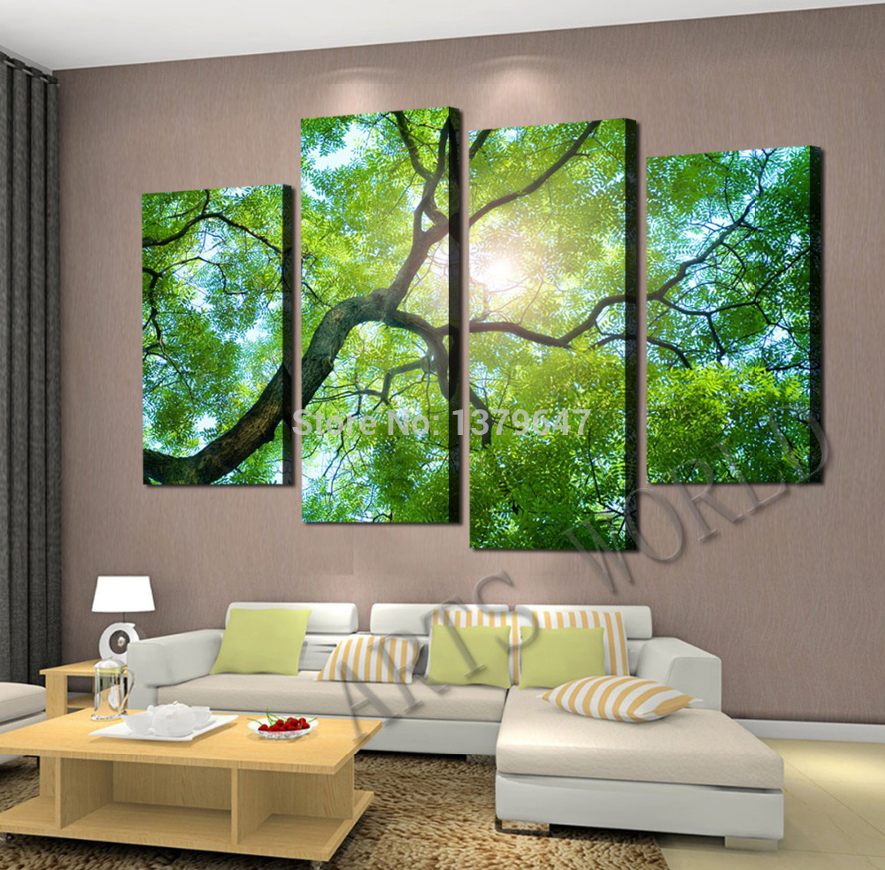 Free shipping 4 Panels Green tree Painting Canvas Wall Art Picture Home Decoration Living Room Canvas Print Modern Painting(China (Mainland))