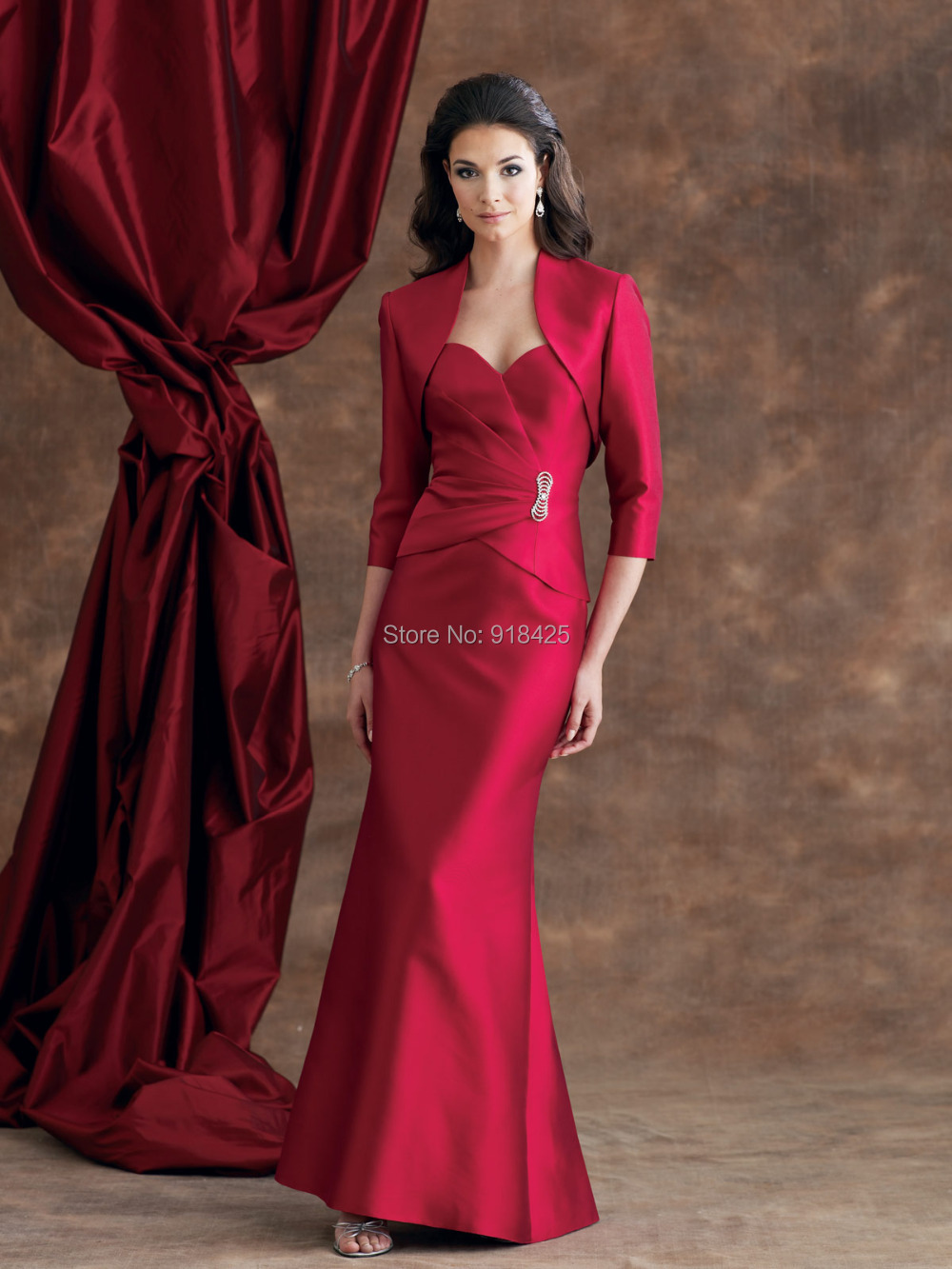 Western country full length sweetheart red mother of the for Western wedding mother of the bride dresses