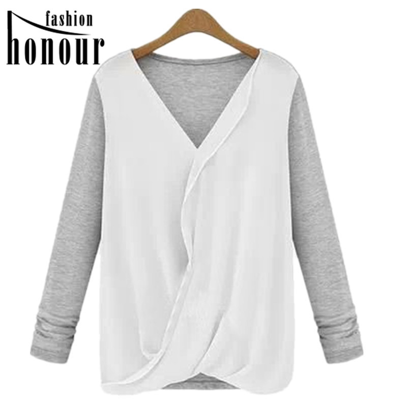 Hot Sale Plus Size S - XXL New Fashion Women Blouse Chiffon Patchwork V-neck Shirt Full Sleeve Blouse MS-9129(China (Mainland))