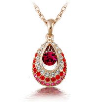 Hottest Gold/Silver  Teardrop Crystal Necklace Jewelry,Colorful Crystal Rhinestone  Necklace Cheap Jewelry Wholesale(China (Mainland))