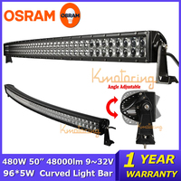 OSRAM 50 inch Curved LED Work Light Bar 480W Beam Combo ATV SUV Camper Pickup Trucks 4WD Driving Car led offroad Light Bar 4x4
