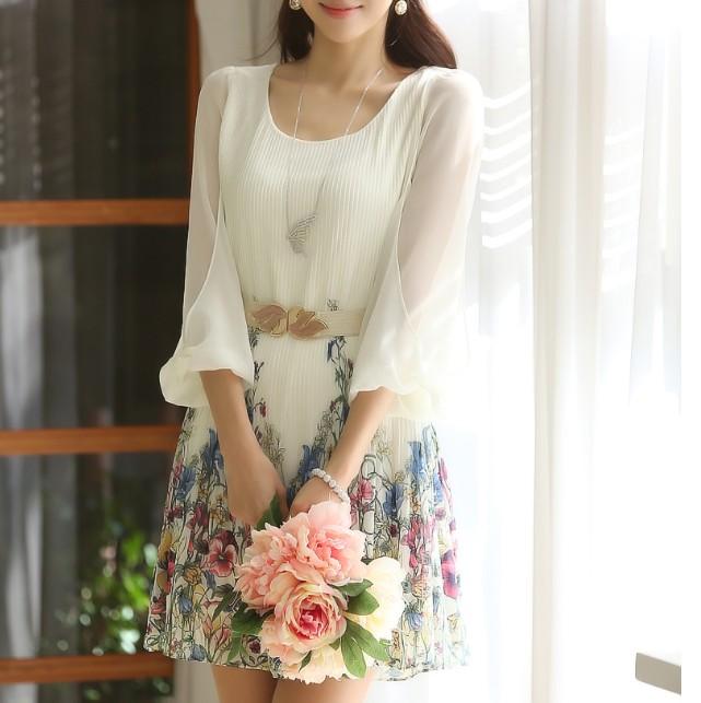 Plus Size XXL Korean New 2014 Spring Casual Summer Dress Loose Half Sleeve Chiffon Dresses Bandage White Print Dress WomenОдежда и ак�е��уары<br><br><br>Aliexpress
