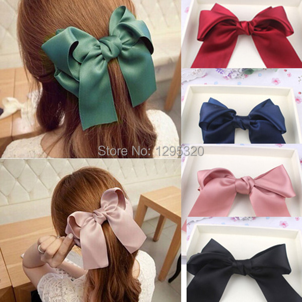 Free Shipping Fashion Women Girls Cute Large Big Satin Hair Bow Hair Clip Boutique Ribbon Bow 1in1y(China (Mainland))