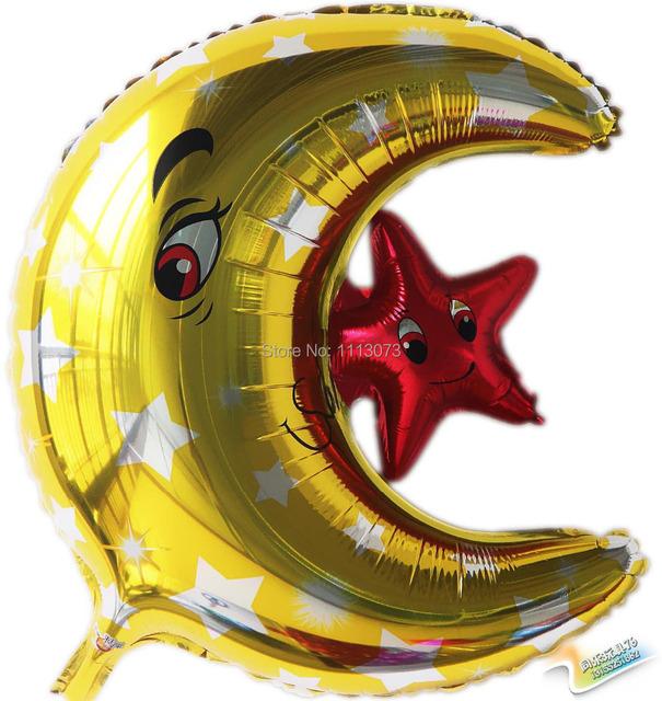 2 шт./лот прекрасная луна звезда фольгированные шары на день рождения ну вечеринку украшения шар детей классические игрушки поставки festa casamento balao