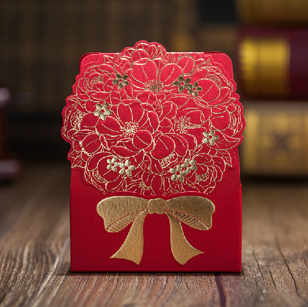 Buy red flower wedding gift bag box for Application box decoration