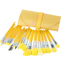 Free Shipping+Drop Shipping 2015 Newest 23 pcs Cosmetic Facial Make up Brush Kit Makeup Brushes Set with yellow Leather Case