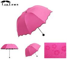 New Lady Princess Magic Flowers Dome Parasol Sun/Rain Folding Umbrella prain women transparent umbrella parapluie brass knuckles(China (Mainland))