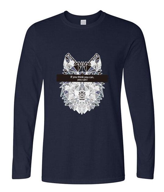 PinHe New brand Clothing 2016 Men's Fashion Long Sleeve T-shirt Wolf Print Funny Tee Shirts Men HipsterTops Cotton T Shirt(China (Mainland))