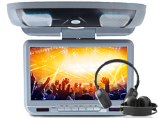 "9"" Flip Down Car DVD Player Roof Mounted Monitor wireless IR headphone Game DVD USB SD Mp3 CD Player Grey Color Sony Lens(China (Mainland))"