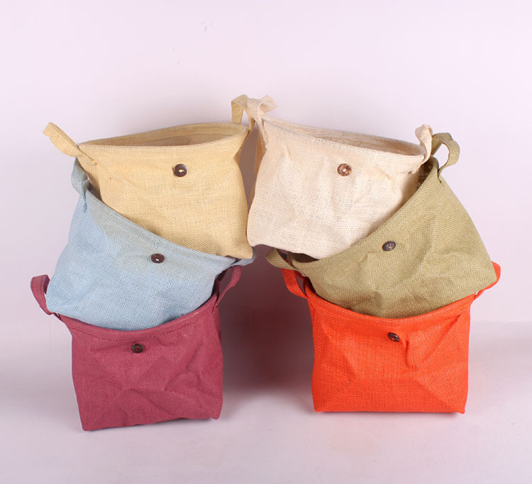 Plain Jute Vintage Retro Eco Storage Baskets Natural Plain Color Pouch Sundries bag for Home Office 26x19x19cm(China (Mainland))