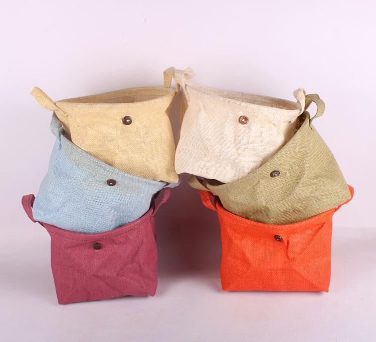 Plain Jute Vintage Retro Eco Storage Baskets Natural Plain Color Pouch Sundries bag for Home Office 26x19x19cm(China (Mainland))