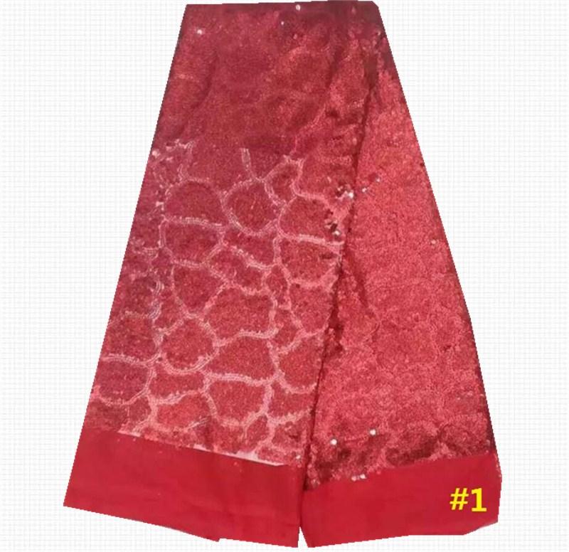 Wholesale and retail Red Color African Sequins Fabric 2016 France Tulle Lace Fabrics Good quality Swiss Lace 5Yards/pcs JL-71501(China (Mainland))