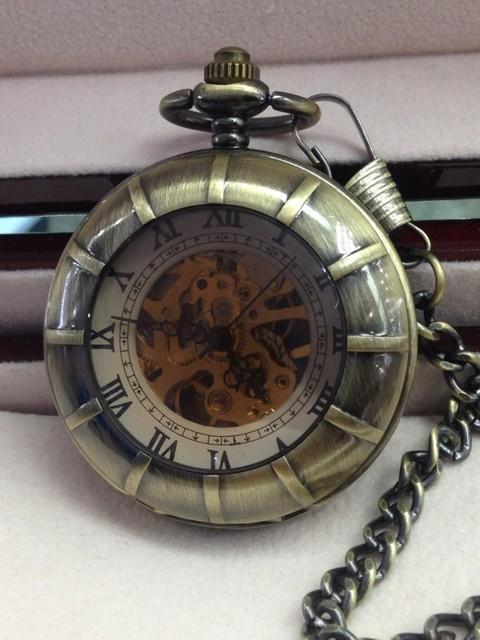 Новинка увеличительное стекло латунь тон мужчины механические карманные часы ручной анти-обмотки кулон. No1